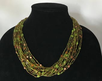 Vintage glass bead multi strand necklace, green beaded necklace, green necklace, statement necklace, adjustable necklace, green jewelry,