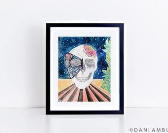 Sugar Skull Decor/Butterfly Sugar Skull Art Print/Dia De Los Muertos/ Retro Skull Art/ Boho Wall Decor/ Watercolor Art Print