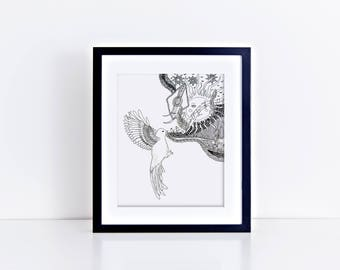 Bird Print/ Bird Wings/ Bird Decor/Bird Wall Art/Black and White Wall Decor/ Modern Wall Decor/ Bird Gift/Song Bird Print