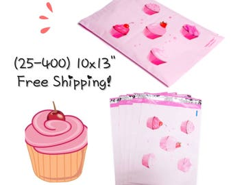 "FREE SHIPPING! (25-400 Pack) 10x13"" Pink Cupcake Designer Poly Mailers"