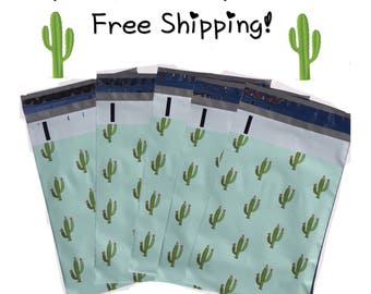 """FREE SHIPPING! (25-400 Pack) 10x13"""" Cactus Designer Poly Mailers"""