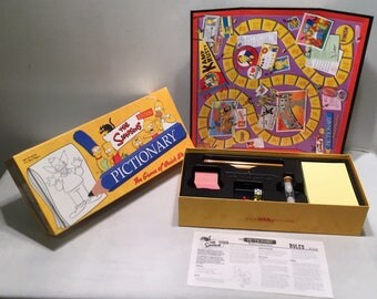 Vintage Simpsons Pictionary Game Complete in Great Condition FREE SHIPPING