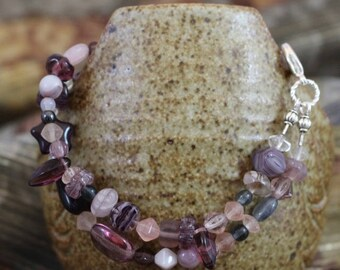 Viking inspired double strand bracelet,amethyst and multicolored glass,silver plated lobster clasp, accent beads,twisted rings, B152