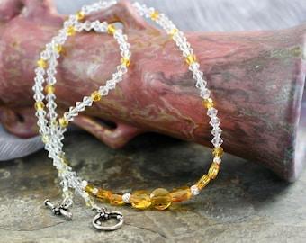 "Necklace 19.5""  sunflower Swarovski mini round beads, sunflower and clear Swarovski bicones, silver twist beads, toggle clasp,N030k"