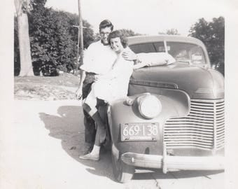 Vintage Photo Cute Teenage Couple Classic Car Romance Lovers Photography Black & White Found Antique Snapshot Ephemera