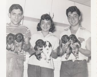 Vintage Photo Siblings Holding Adorable Cute Puppy Dogs Animal Pet Found Black & White Vernacular Paper Ephemera Art Snapshot Mood Design