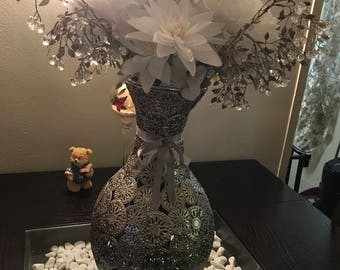 Metal Vase with White Yellow Blue Flower Arrangement