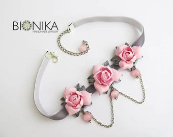 Choker pink flowers Necklace with Gardenia Flower necklace Floral jewellery Flowers polymer clay Pink flowers Choker on the neck for girl