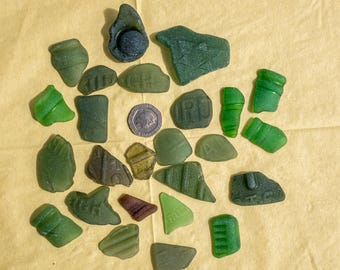 Scottish Beachcombed Sea Glass: Green Shades Sea Worn Lettered Patterned Pieces for Crafts/Mosaics 24 pieces 110g