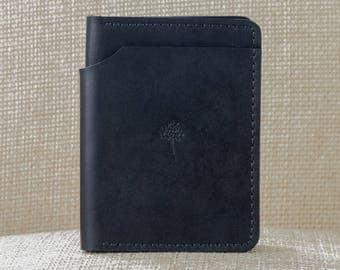 Mens All-Black Wallet // Full Grain Horween Leather // Veg Tanned // Handmade in USA // Groomsmen Gift // Gifts for Him // Black