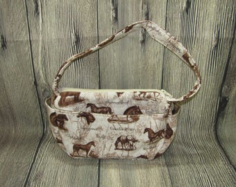Small White and Brown Shoulder Strap Purse