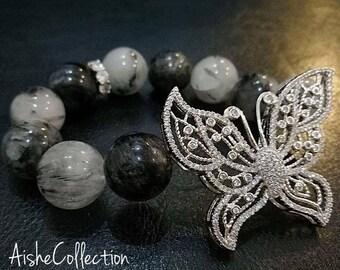 Tourmaline quartz with butterfly/Турмалиновый кварц с бабочкой