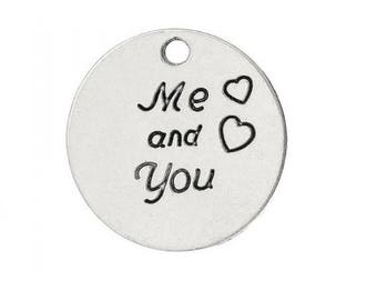 "SET of 3 engraved round charm ""Me and You"" Silver heart (C27)"