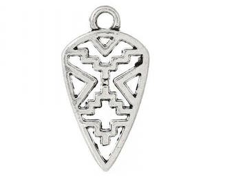Set of 10 charms triangle tribal astheque arabesque Silver (D05)