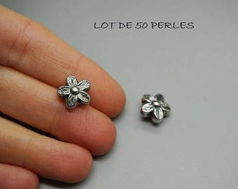 LOT 50 charm 10mm (W13) silver fancy flower beads