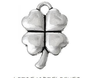 set of 5 charms 4 leaf clover lucky silver luck (A39)