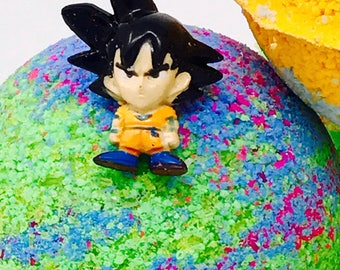 Sale! Five 2.5 ounce Dragon Ball Z inspired Birthday Bath Bomb Sets with Toy Surprise Inside; All Natural Vegan, Homemade.