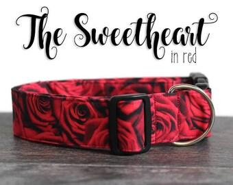 red rose dog collar valentine dog collar red dog collar unisex valentine collar