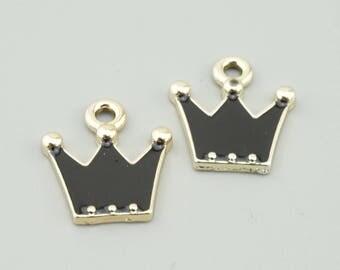 10pcs 17x15mm Black Crown Charm Pendants LJ1715