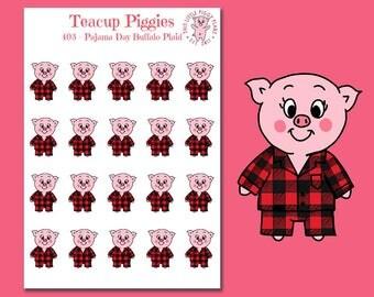 Teacup Piggies - Pajama Day Oinkers - Buffalo Plaid Pajamas - Mini Planner Stickers - Christmas Pajamas - Christmas Stickers - Pj's - [403]