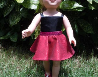 Circle skirt and blouse made to fit like American Girl doll clothes, AG doll clothes, 18 inch doll clothes