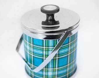 Retro Mod ice bucket Silver Blue/Green and white tartan with his claw - Made in Japan - mid century