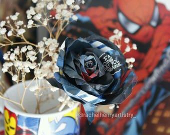 Paper Rose Marvel Spider man comic book flower gift decor
