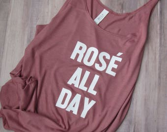 Rose All Day Tank - Rose All Day Shirt - Slouchy Shirt - Slouchy Tank - Champagne