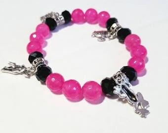 Pink chalcedony beads