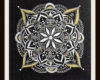 Mandala art, white, silver, gold, original art. monochrome, ready to frame, OOAK,  boho, eastern, boho gift, boho home, hippie gift, hippy