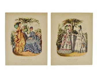 European Fashion Prints on Paper - a Pair