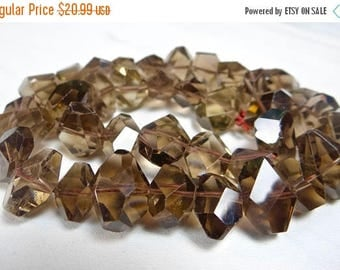 53% Off Sale-- Light Smoky Quartz center drilled faceted nugget beads/12x9-17x11mm/7.5 inch strand