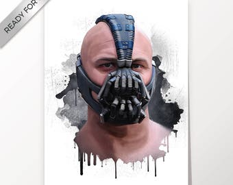 Bane, Tom Hardy, Batman,The Dark Knight Rises, artwork, handmade, PRINTABLE art, poster, instant download, digital print,home decor,wall art