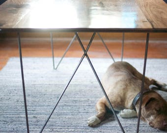 The Surf - Modern Walnut Dining Table with Geometric Steel Base - Minimalist Design