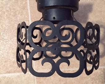 Mid Century electric light fixture black design and flushmount type