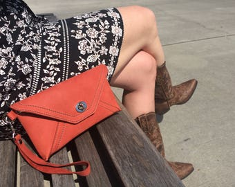 Leather Envelope Clutch  FREE US Shipping!