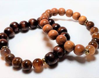 Men's Wood & Amazonite Stretch Wrist Mala