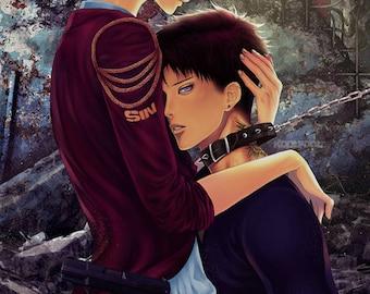 "Poster Print ""Lost Without You"" (Shounen Ai Boys Love Boyslove Yaoi Love Story Romance Bishounen Manga Illustration) by KoolFoolDesigns"