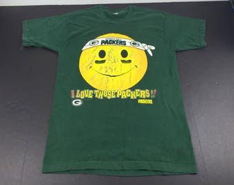Vintage 1996 Green Bay Packers smiley face t-shirt mens M NFL Football
