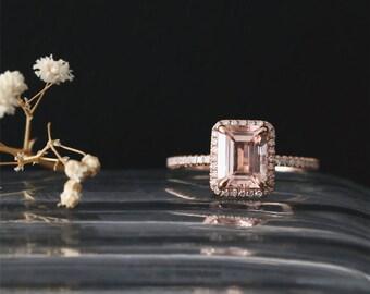Classical Ring VS 8*6mm Emerald Cut Morganite Ring Diamond Halo Half Eternity Diamond Ring Stackable 14K Rose Gold Morganite Engagement Ring