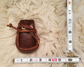 Tatanka/bison, chakra sac/pouch/bag with leather drawstring