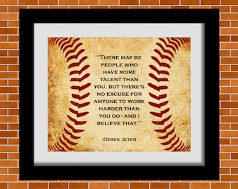 Printable Baseball Art Derek Jeter Quote Boys Room Decor Man Cave