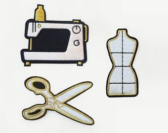 Lot : Dress From + Sewing Machine + Scissors patches -  Embroidered Applique gold black white satin - perfect for seamstress diy custom