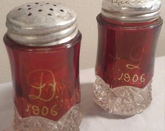 1906 Ruby Red Glass Salt and Pepper Shakers