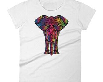 Elephant Art Mandala Mosaic Colorful Rainbow India Africa Animal Elephant Lover Women's Shirt