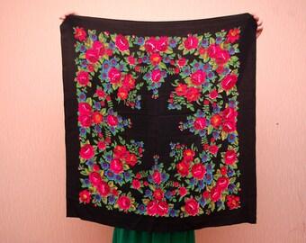 Russian shawl chiffon Black floral shawl Folk shawl Vintage Shawl Boho Wedding Shawl Traditional Russian Shawl Vintage Flower Shawl USSR