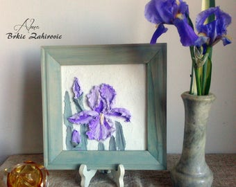 Painting Iris , Home Decor , Flowers , Sculptural Painting , Palette Knife Painting , Volume Painting , Painting Decorative Plaster