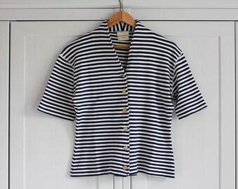 1980s Blouse bolero Vintage top Striped white blue crop top Retro look Button down Classic look Women Clothing / MEDIUM Size