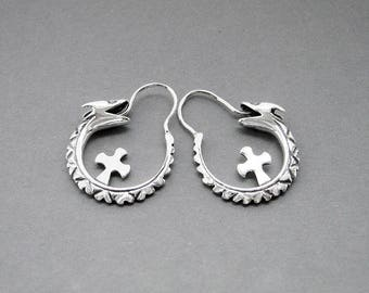 "Silver Earrings ""Uroboros""(Ouroboros)"