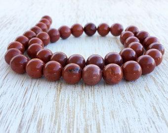 "10mm Red Jasper Beads / 15.5"" Strand, Genuine Natural Gemstone Bead, Red Jasper Bead, 10mm Jasper, Red Beads, Smooth Round Jasper (G1019)"